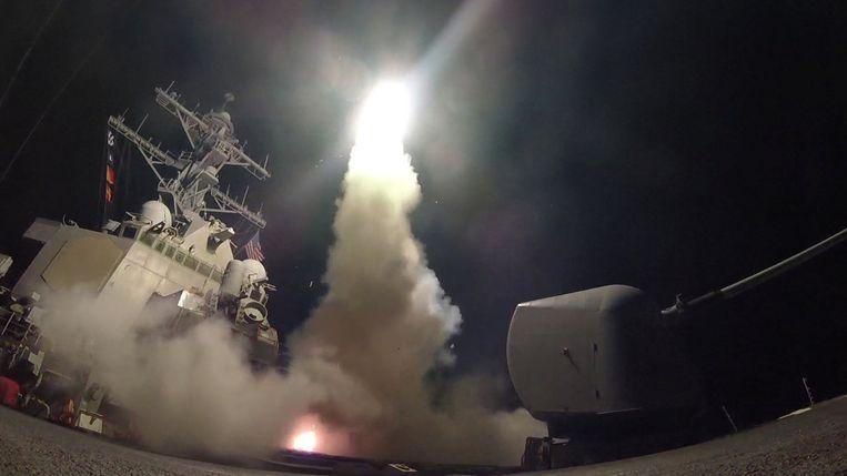 Vrijgegeven beelden tonen de lancering van een Tomahawk-kruisraket Beeld reuters
