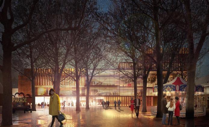 Vooraanzicht ontwerp nieuwe Theater aan de Parade.