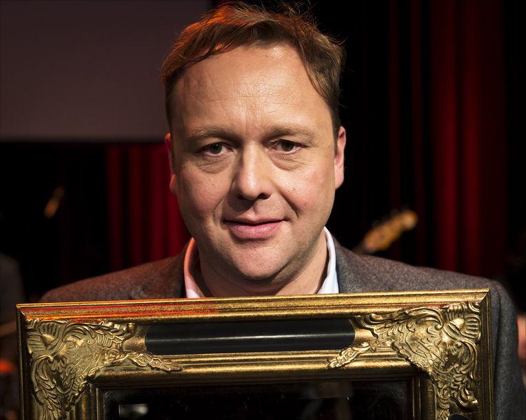 Winnaar van de Poelfinario Prijs Richard Groenendijk tijdens de uitreiking van de VSCD Cabaretprijzen 2012 in de Kleine Komedie. Beeld anp