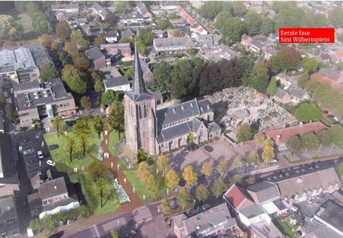 Het Wilbertsplein in Bakel na de renovatie.