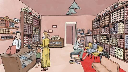 Tekening van schoenwinkel Hanselaar in Zeist in de jaren 50.