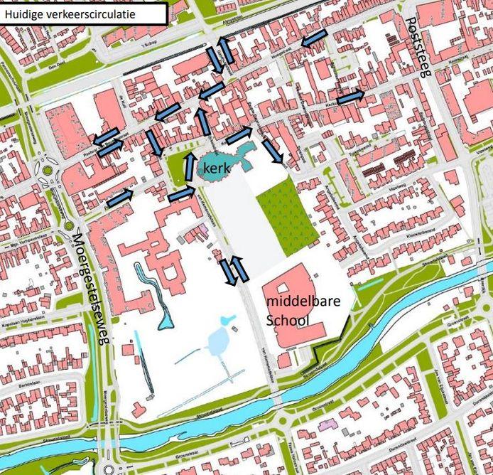 Huidige verkeerssituatie Kerkplein en omgeving in Oisterwijk