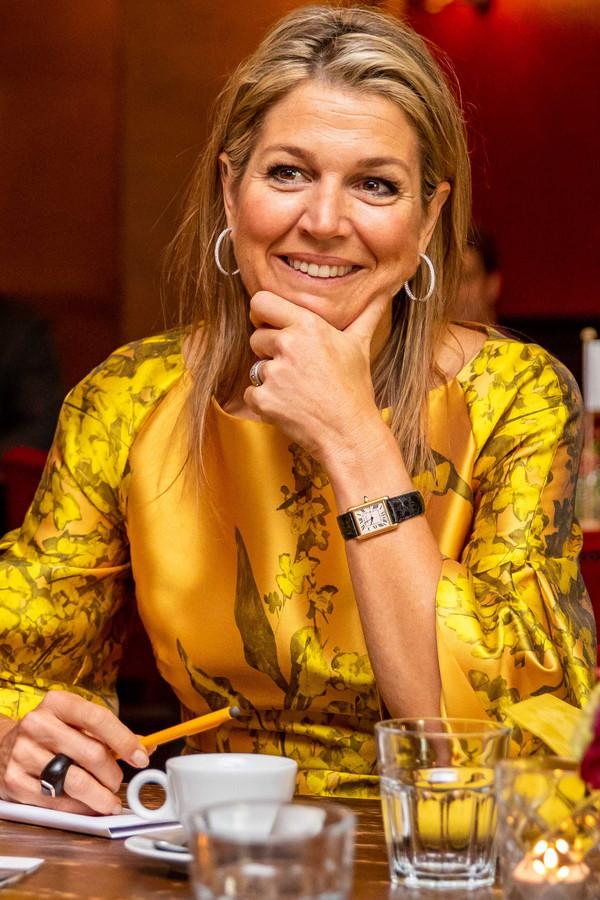 Koningin Máxima neemt in Apeldoorn deel aan enkele groeigesprekken als lid van het Nederlands Comité voor Ondernemerschap.