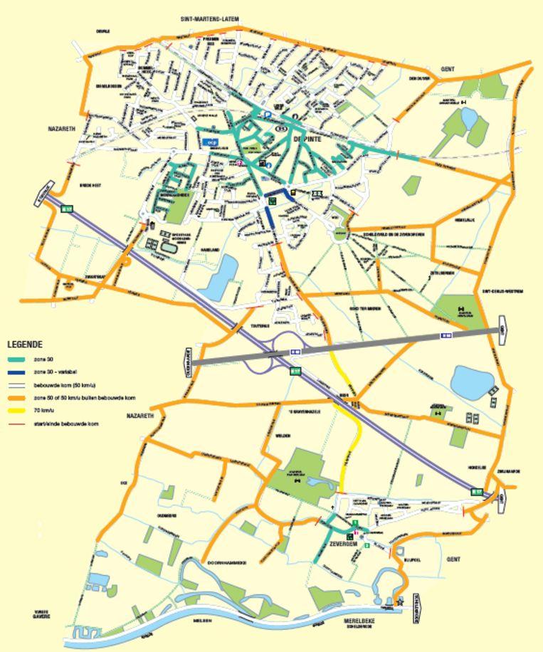 Het nieuwe snelheidsregime van De Pinte in kaart gebracht.