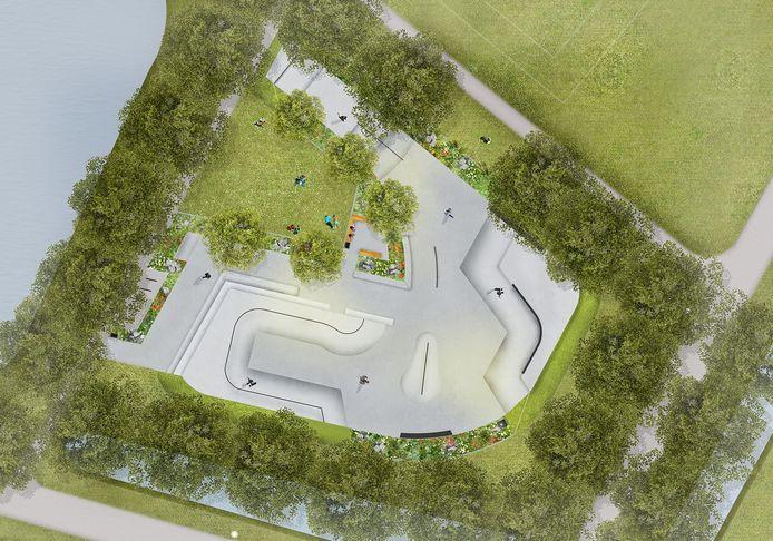 BREDA - Het skatepark dat aan de Bergdreef in de wijk Muizenberg in Breda moet verrijzen.