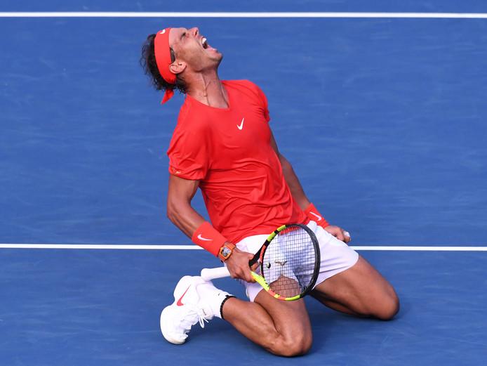 Rafael Nadal schreeuwt het uit van geluk na het winnen van de finale in Toronto.