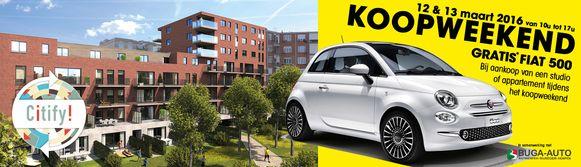 Met deze Fiat 500 probeert Citify geïnteresseerden te verleiden om een flat te kopen.