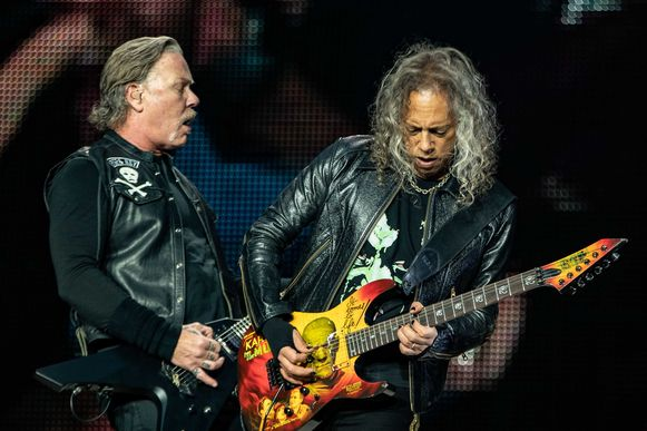Frontman James Hetfield (links) en gitarist Kirk Hammett.