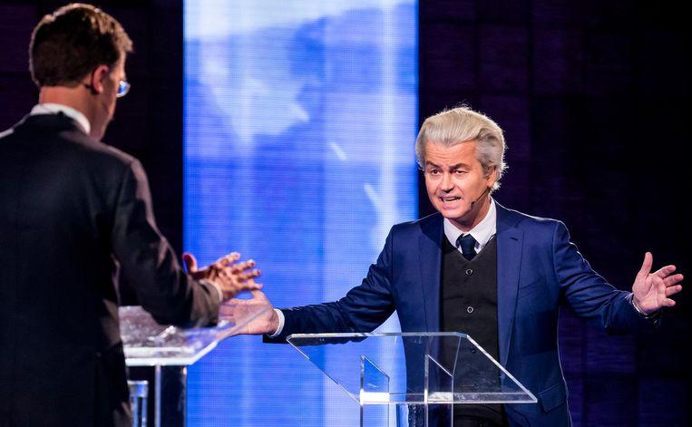 Mark Rutte en Geert Wilders tijdens het EenVandaag-debat. Beeld anp