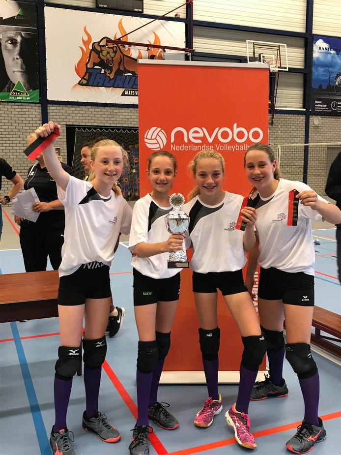 De meiden van het schoolvolleybalteam van basisschool Alexander uit Denekamp hebben de eerste prijs op het NK Schoolvolleybal in houten binnengesleept.