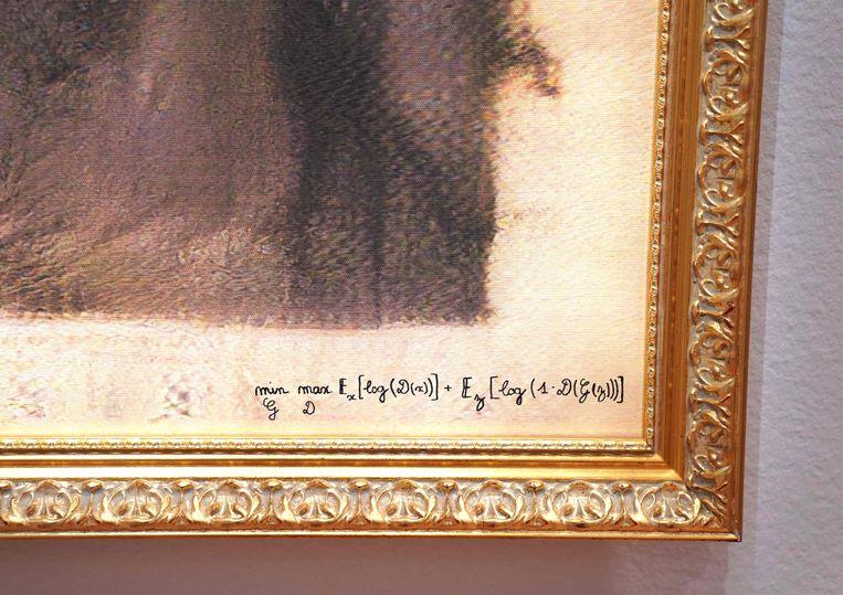 De handtekening van het computerprogramma onder het portret van Edmond De Belamy.  Beeld AFP