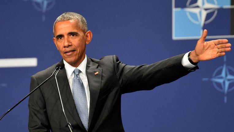 De Amerikaanse president Barack Obama vandaag in Warschau. Beeld afp