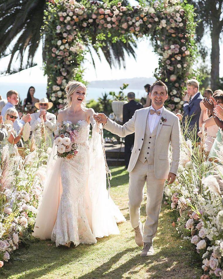 Matt Bellamy en Elle Evans op hun huwelijksdag