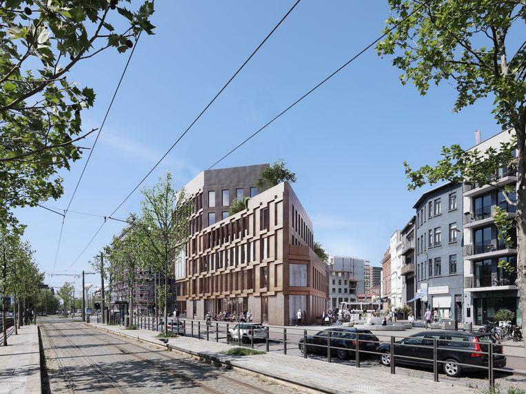 Het nieuwe kantoorgebouw in de driehoek gevormd door de Londenstraat, de Catharina Pepijnstraat en de Kattendijkdok-Oostkaai.