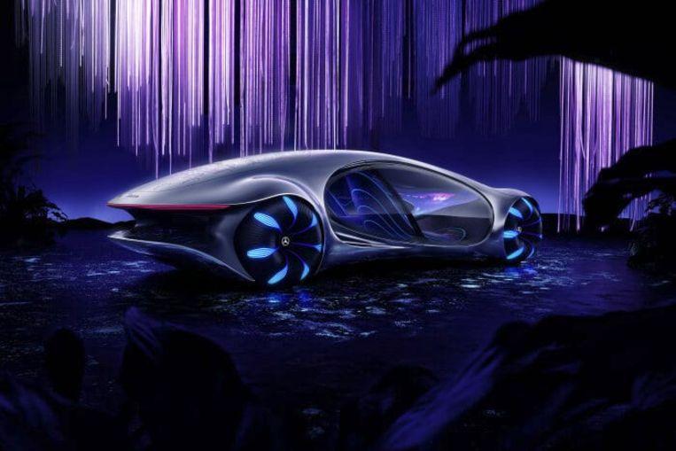 Een visuele voorstelling van de Mercedes-Benz Vision AVTR.