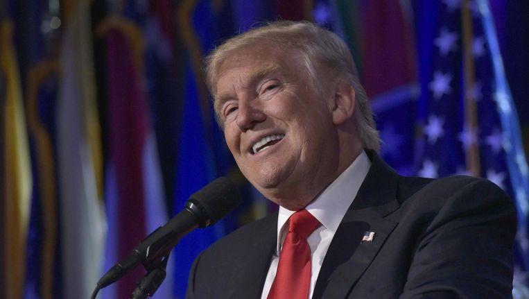 Bij zijn overwinningsspeech benadrukte Trump dat hij een president wil zijn voor heel Amerika, hopelijk geen loze woorden. Beeld afp