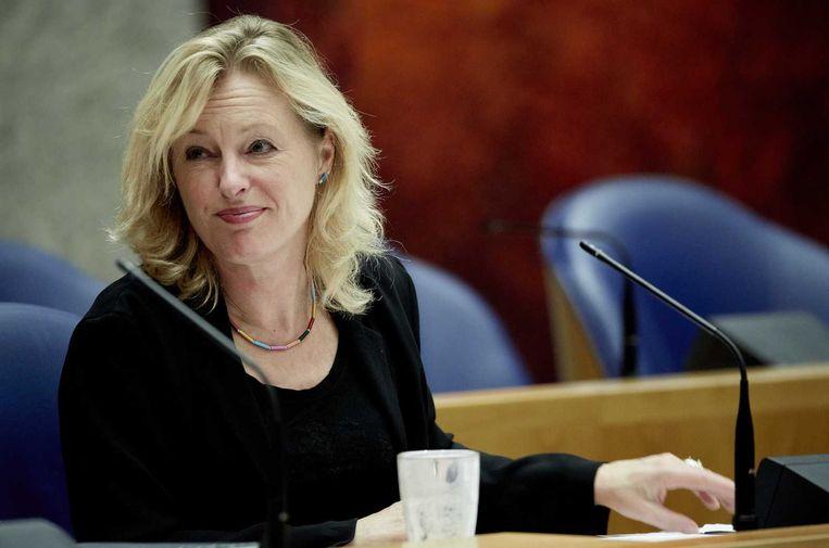 Minister Jet Bussemaker van Onderwijs, Cultuur en Wetenschap tijdens het debat over de Wet studievoorschot hoger onderwijs. Beeld null