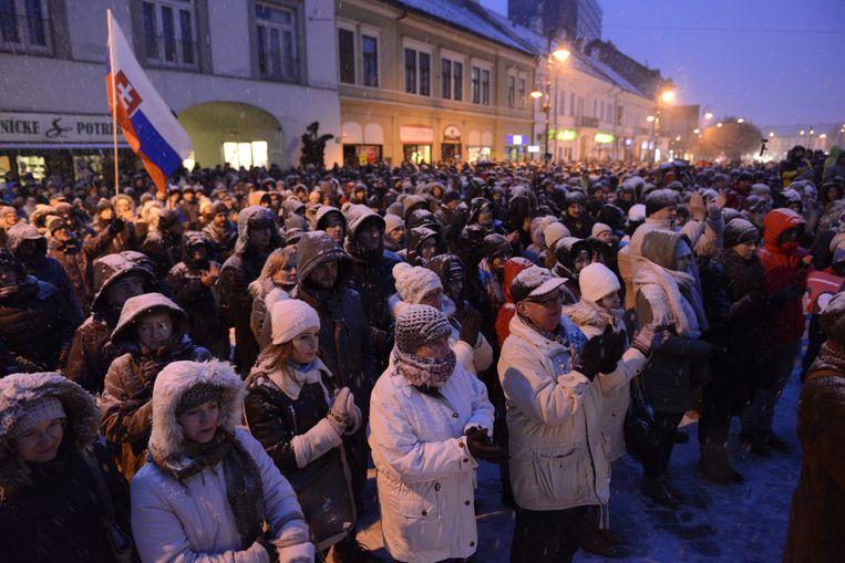 Journalist Ján Kuciak wordt herdacht in het Slowaakse Kosice Beeld AP