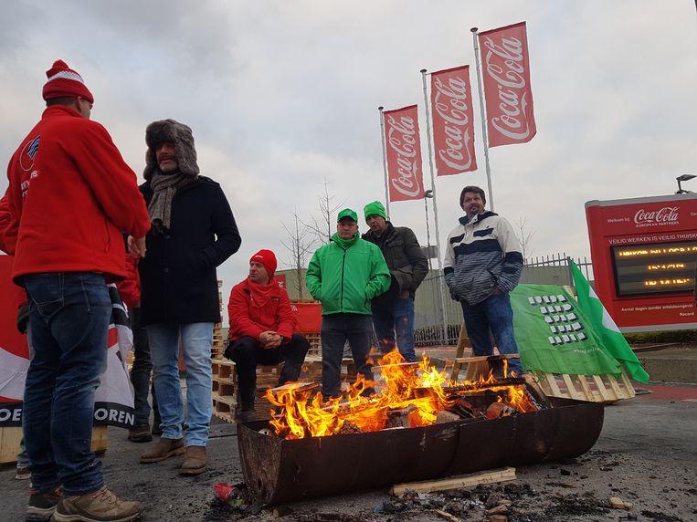 Actie aan Coca-Cola in Zwijnaarde, Gent.