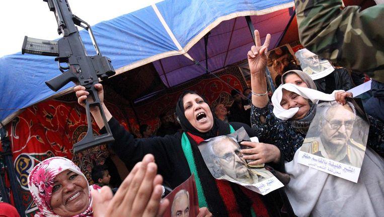 Libiërs verwelkomen troepen van krijgsheer Haftar uit het oosten van het land. Beeld AFP