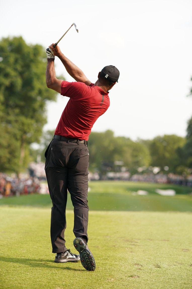 Tiger Woods slaat af bij het honderdste PGA kampioenschap. Beeld AFP