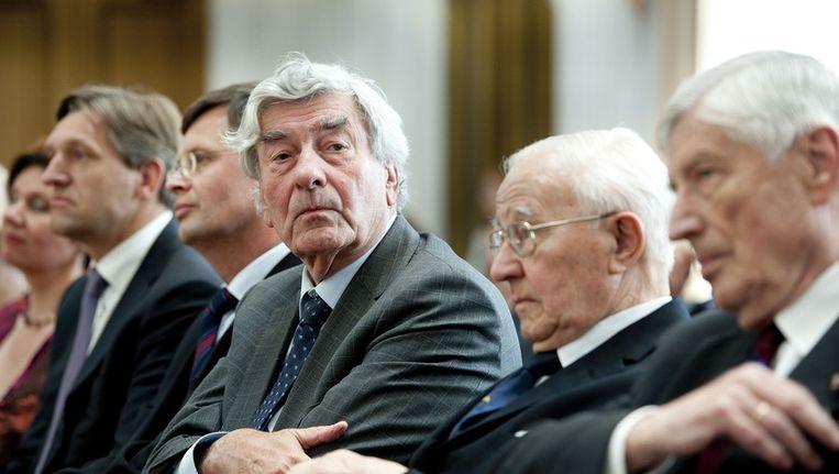 Oud-premiers Lubbers (midden) en Van Agt (rechts) in mei 2012 bij de presentatie van de Canon van de christendemocratie. Beeld anp