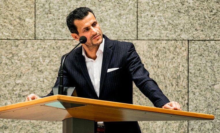 Farid Azarkan (DENK) tijdens het wekelijkse vragenuur in de Tweede Kamer.  Beeld ANP