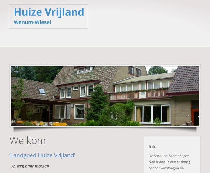 De website van Huize Vrijland.