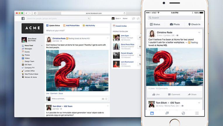 Screendump van de betaversie van Facebook at Work. Beeld Facebook