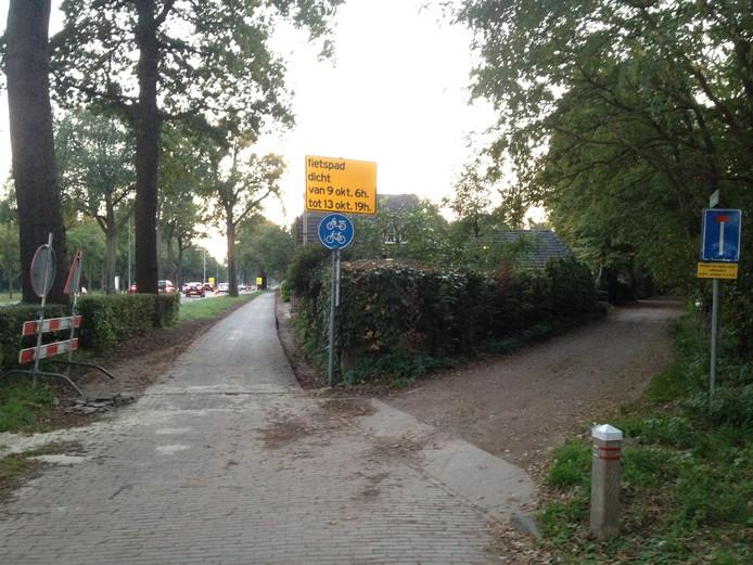 Het begin van het nieuwe fietspad naar Helvoirt aan het Cromvoirtsepad in Vught