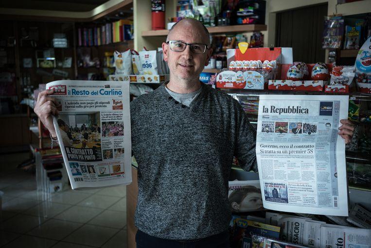 Kioskhouder Walter Marcheselli: 'Ik zie niet hoe Lega en de Vijfsterrenbeweging ooit kunnen samenwerken.' Beeld Zolin Nicola