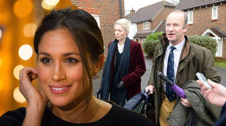 Meghan Markle (links) krijgt de wind van voren van Jo Marney, de vriendin van UKIP-leider Henry Bolton (allebei rechts).