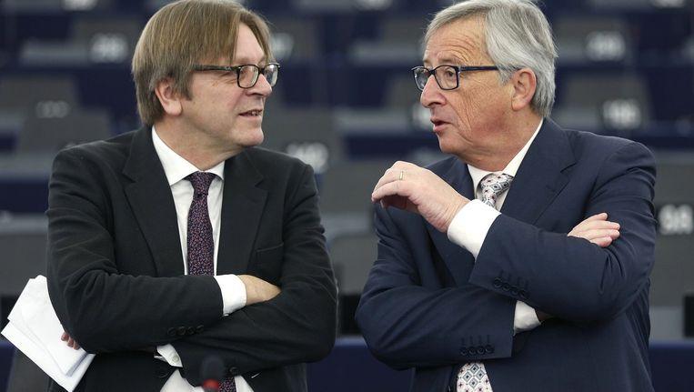 Guy Verhofstadt en Jean-Claude Juncker.