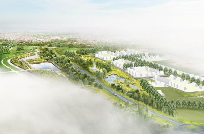 Artist-impression van De Tuinderij. Een nieuwe wijk met bijna 200 woningen die aan de rand van Zundert wordt gebouwd