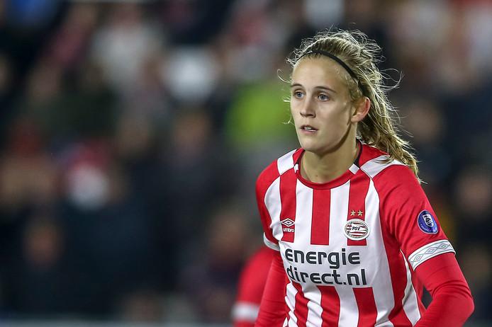 PSV-topscorer Katja Snoeijs maakte tegen Ajax haar tiende van het seizoen.