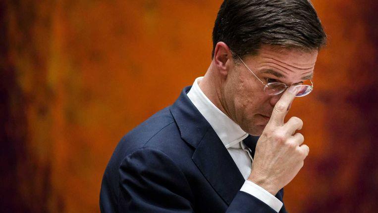Premier Mark Rutte tijdens het debat over het Oekraïne-referendum. Beeld anp