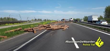 Lading boomstammen belandt op de A15, snelweg dicht bij Wadenoijen