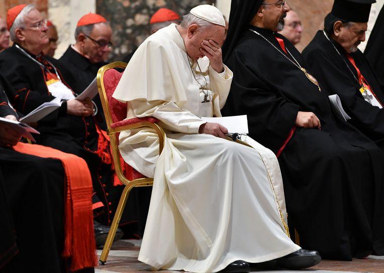 De Paus tijdens de misbruiktop in Vaticaanstad.  Beeld AP