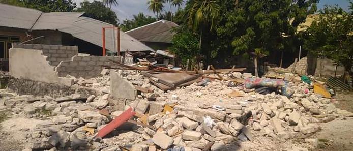 De zware aardbeving zorgde eind september 2019 op de Molukken voor veel verwoeste huizen.