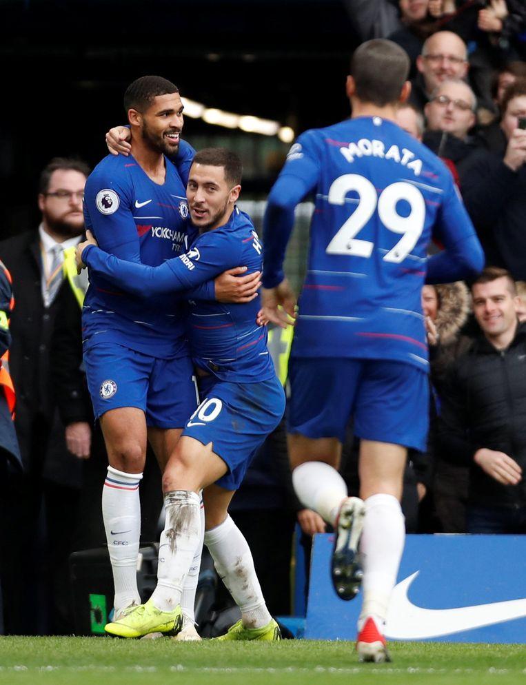 Hazard en Loftus-Cheek aan het feest.