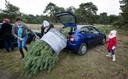 Het valt dan nog niet altijd mee om zo'n kerstboom mee te nemen vanaf Park de Hoge Veluwe.