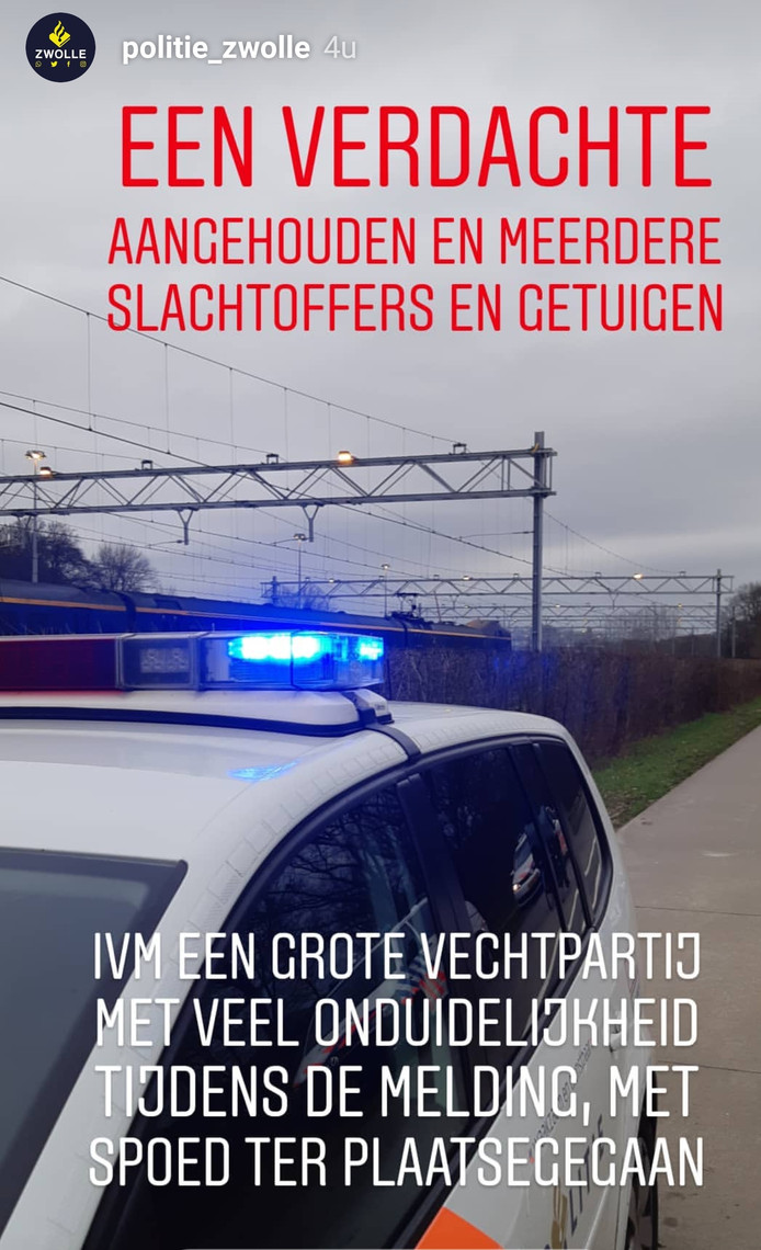 Het Instagram-bericht dat de politie verspreidde over de vechtpartij.