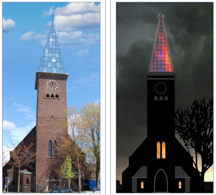 Het winnende ontwerp voor de nieuwe torenspits bij dag en avond.