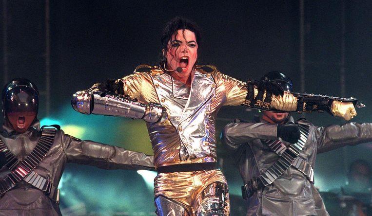 Michael Jackson tijdens zijn HIStory World Tour 1997 in de Amsterdamse ArenA. Beeld anp