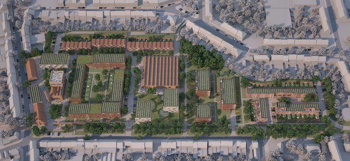 Een luchtbeeld van de nieuwe wijk.
