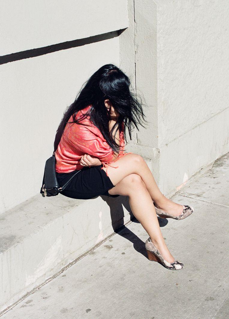 Vrouw in Davie Street, Vancouver. Beeld null