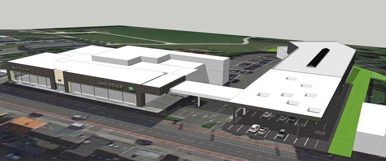 Een toekomstbeeld van de Land Rover-site in Asse met links de toonzaal en rechts de nieuwe 'open showroom' met daarachter de carrosserie-afdeling.