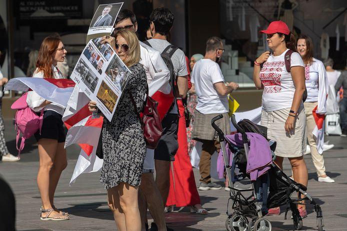 Op het 18 Septemberplein is er  een protest tegen het geweld in Wit-Rusland