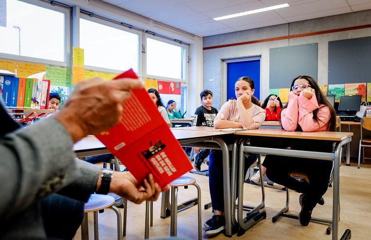 Leerlingen van de Joop Westerweelschool bij de Voorleesdagen in 2018. Beeld ANP