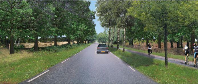 Een toekomstbeeld van de Eindhovensedijk. Aan beide zijden van de weg is de Oirschotse Heide beter zichtbaar.